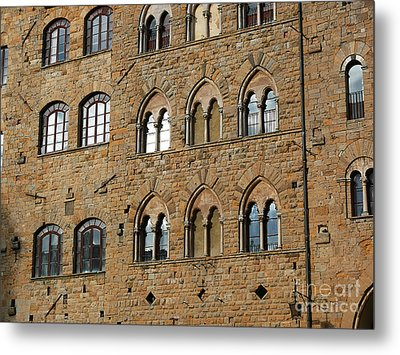 Metal Print featuring the photograph Volterra Wall Of Windows by Jeanne  Woods