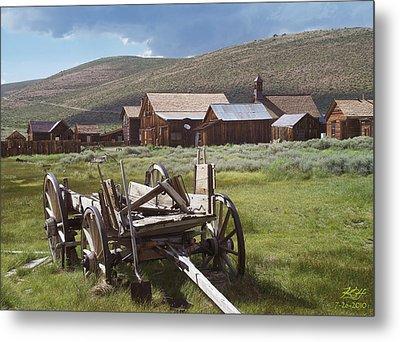 Wagon And Shovel Metal Print