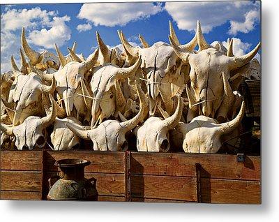 Wagon Full Of Animal Skulls Metal Print by Garry Gay