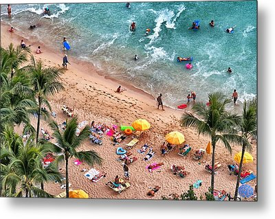 Metal Print featuring the photograph Waikiki Beach Aerial 1 by Jim Albritton
