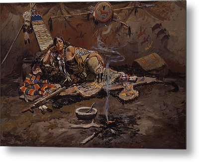 Waiting And Mad Metal Print by Charles Marion Russell