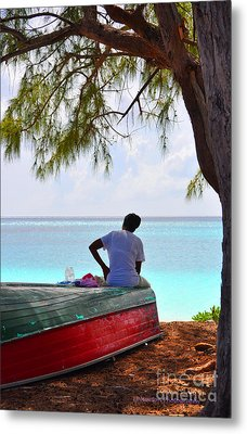 Waiting For Her Ship To Come In Metal Print by Li Newton