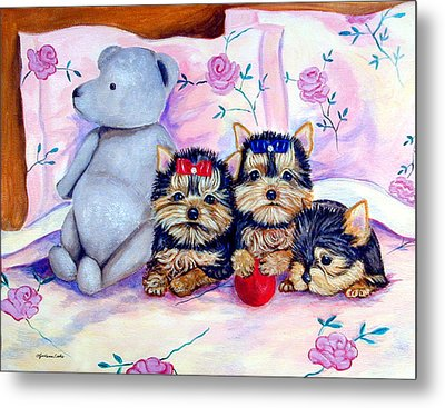 Waiting For Mom - Yorkshire Terrier Metal Print by Lyn Cook