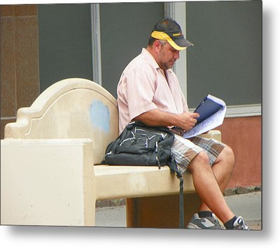 Waiting For The Bus Metal Print by Lenore Senior
