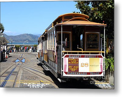 Waiting For The Cablecar At Fishermans Wharf . San Francisco California . 7d14099 Metal Print by Wingsdomain Art and Photography