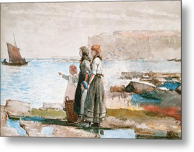 Waiting For The Return Of The Fishing Fleets Metal Print by Winslow Homer