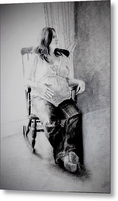 Metal Print featuring the drawing Waiting by Lynn Hughes