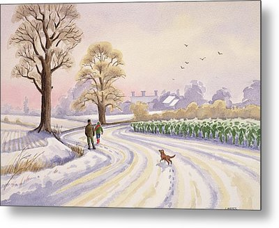 Walk In The Snow Metal Print by Lavinia Hamer