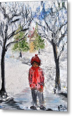 Walking Alone Metal Print by Evelina Popilian