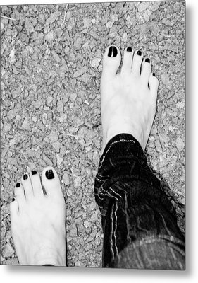 Metal Print featuring the photograph Walking Barefoot by Ester  Rogers