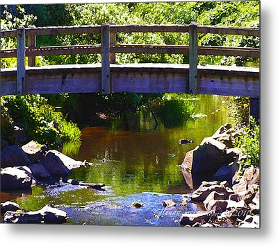 Walking Bridge At Otter Crest Metal Print by Glenna McRae