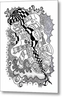 Walking By Metal Print by Fla Arakaki