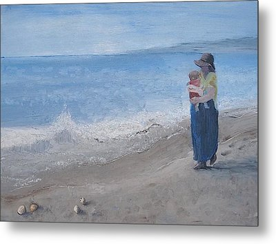 Walking On The Beach Metal Print by Angela Stout