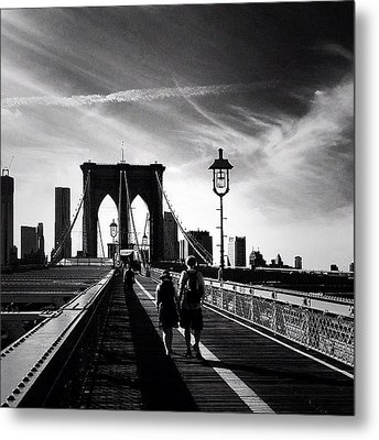 Walking Over The Brooklyn Bridge - New York City Metal Print by Vivienne Gucwa