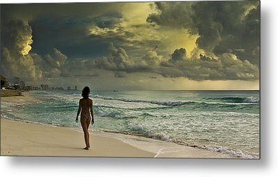Walking The Beach Metal Print by Nick Mares