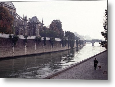 Metal Print featuring the photograph Walking The Dog Along The Seine by Tom Wurl