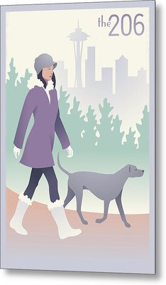 Walking The Dog In Seattle Metal Print