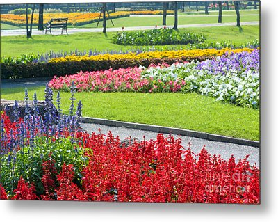 Walkway In Park Metal Print by Atiketta Sangasaeng