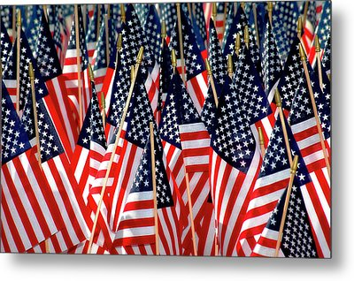Wall Of Us Flags Metal Print by Carolyn Marshall