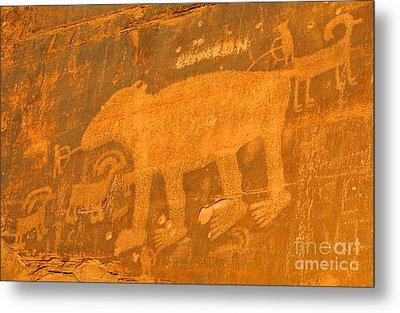 Wall Street Cliffs Petroglyph - Moab Metal Print by Gary Whitton