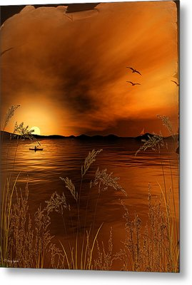 Warmth Ablaze - Gold Art Metal Print by Lourry Legarde