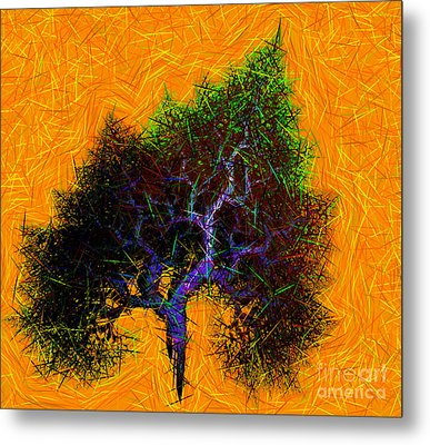 Was A Crooked Tree  Grunge Art Metal Print by Richard Ortolano