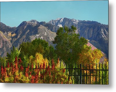 Wasatch Mountains In Autumn Painting Metal Print by Tracie Kaska