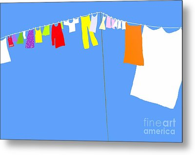 Metal Print featuring the digital art Washing Line Simplified Edition by Barbara Moignard