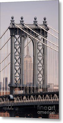 Washington Bridge And Empire State Building Metal Print by Holger Ostwald