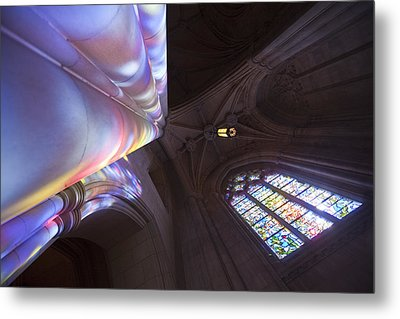 Washingtons National Cathedral Stained Metal Print by Richard Nowitz