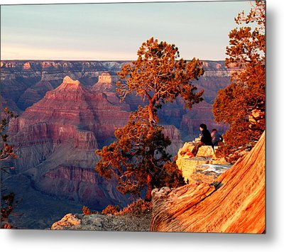 Metal Print featuring the photograph Watching The Sun Set On The Grand Canyon by Cindy Wright