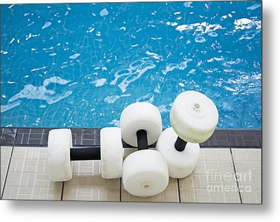 Water Floats At Poolside Metal Print by Marlene Ford