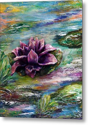 Water Lilies - Two Pieces Metal Print by Raya Finkelson