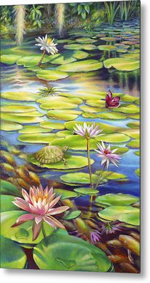 Water Lilies At Mckee Gardens I - Turtle Butterfly And Koi Fish Metal Print