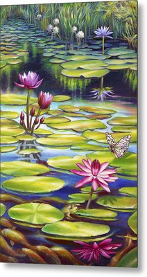 Water Lilies At Mckee Gardens II - Butterfly And Frog Metal Print