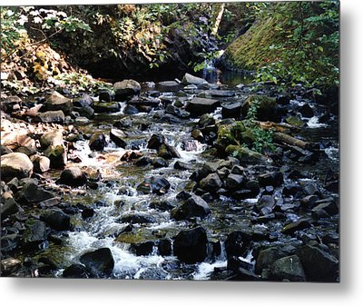 Metal Print featuring the photograph Water Over Rocks by Maureen E Ritter