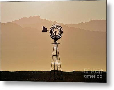 Metal Print featuring the photograph Water Pump Windmill by Werner Lehmann