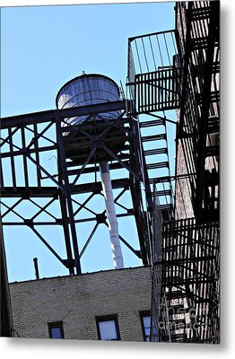 Water Tower In The Heights Metal Print by Sarah Loft