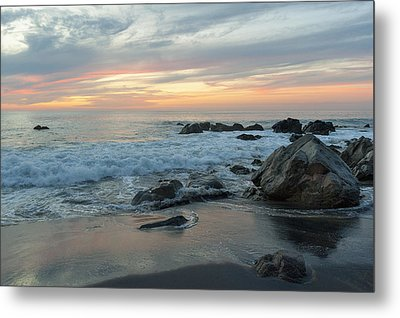 Water Washing Up On The Beach Metal Print by Keith Levit
