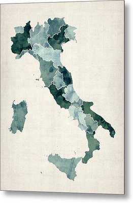 Watercolor Map Of Italy Metal Print by Michael Tompsett