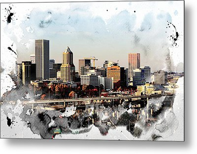 Watercolor Of Downtown Portland Metal Print by Cathie Tyler