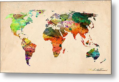 Watercolor World Map  Metal Print by Mark Ashkenazi