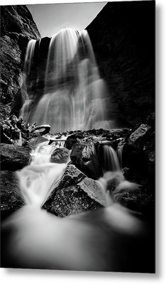 Waterfall Down The Mountains Metal Print by © Francois Marclay