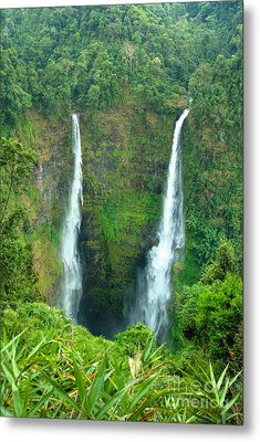Metal Print featuring the photograph waterfall in Laos by Luciano Mortula