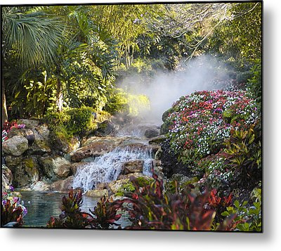Waterfall In The Mist Metal Print by Barbara Middleton