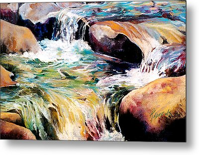 Metal Print featuring the painting Waterfall Maui by Rae Andrews