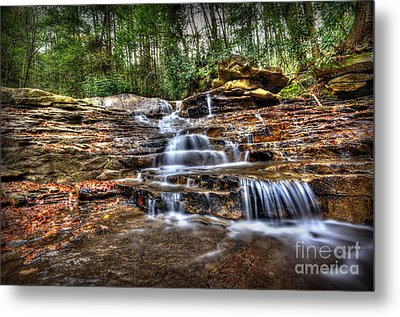 Waterfall On Small Creek Going Into The Big Sandy River Metal Print by Dan Friend