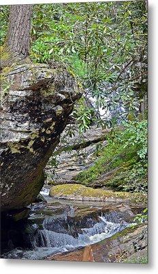 Waterfall Rock Metal Print by Susan Leggett