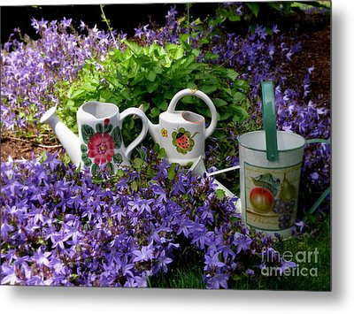 Metal Print featuring the photograph Watering Cans And Campanula by Tanya  Searcy