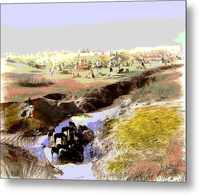 Watering The Horses Metal Print by Charles Shoup